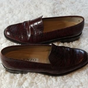 Enzo Angiolini Shoes - Enzo Angiolini Brown Loafer Alligator Pattern